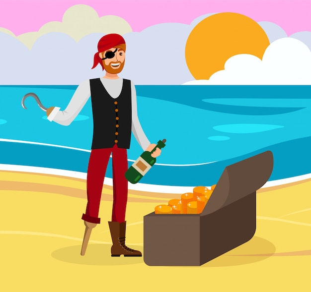 Pirate found gold flat color cartoon character