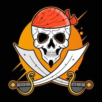Пират, забавный персонаж, вектор значок вектора, подходящий для печати поздравительных открыток, плакатов или футболок.