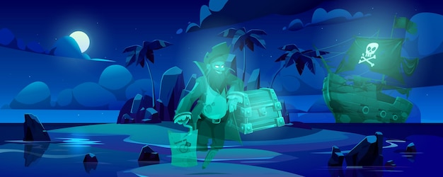 Pirate ghost on haunted island