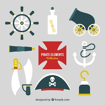 Pirate hat collection with elements in flat design