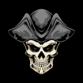 Pirate hat skull illustration design
