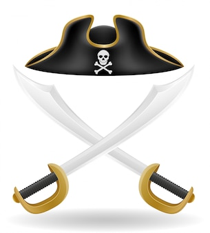 Pirate hat tricorn and sword vector illustration