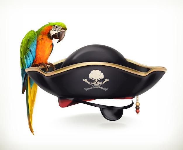 앵무새 일러스트와 함께 해적 모자