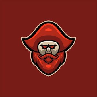 해적 머리 만화 로고 템플릿 그림입니다. e스포츠 로고 게임 프리미엄 벡터