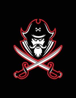 Pirate head mascot pirate captain face icon