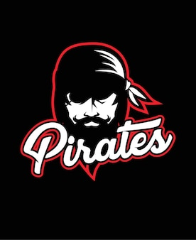 Pirate head mascot sea pirates logo template design vector illustration