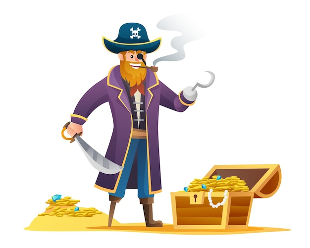 Pirate holding sword with treasure cartoon character