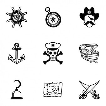 Pirate icons collection Free Vector