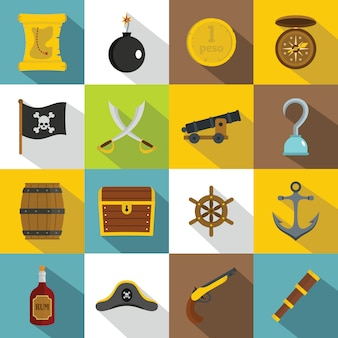 Pirate icons set, flat style
