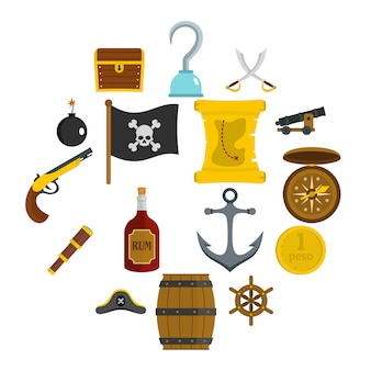 Pirate icons set in flat style
