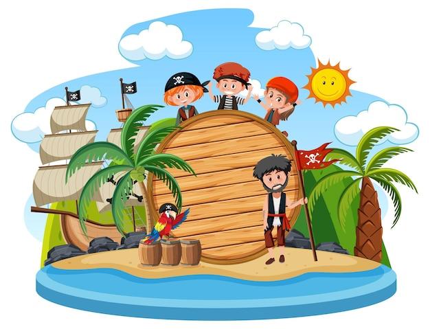 Пиратский остров с пустым знаменем на белом фоне
