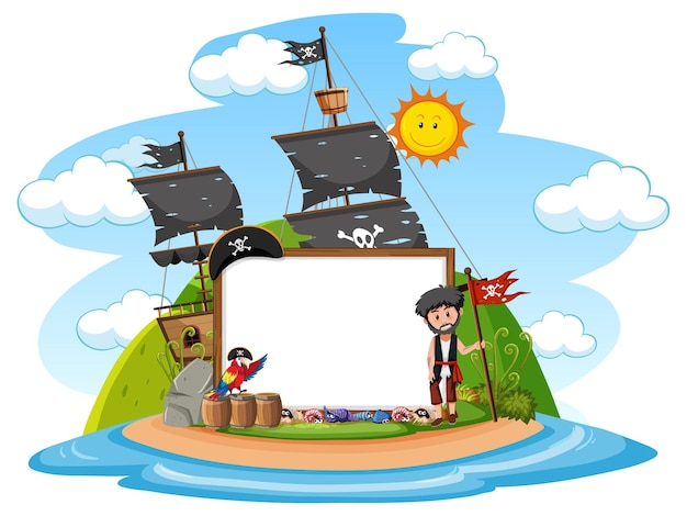 Пиратский остров с изолированным шаблоном пустого баннера