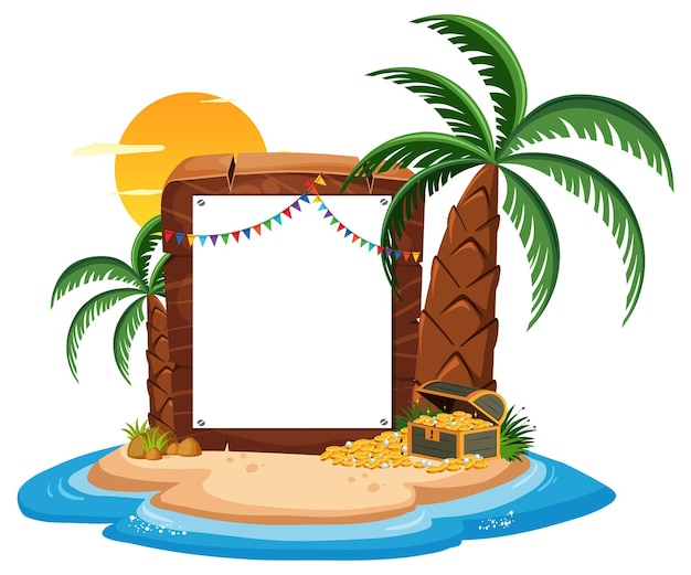 Pirate island with blank banner template isolated