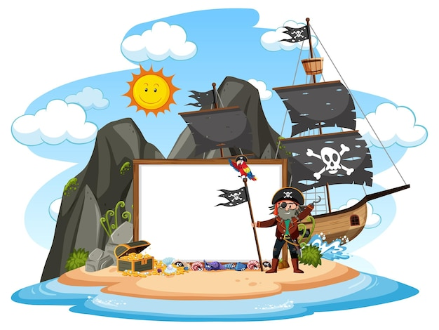空白のバナーテンプレートと海賊島