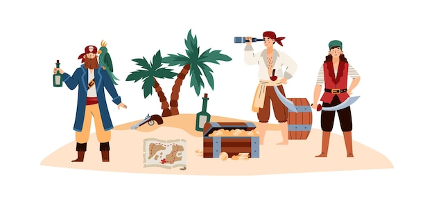 Pirate island with cartoon sea pirates characters vector illustration isolated