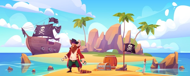 Pirate on island with treasure, filibuster captain
