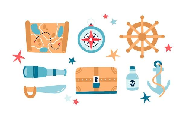 Набор пиратских предметов плоских векторных иллюстраций. якорь, подзорная труба, сабля, руль изолированный цветной пакет. деревянный сундук с сокровищами. карта детских квестов на белом фоне. символы пиратства.