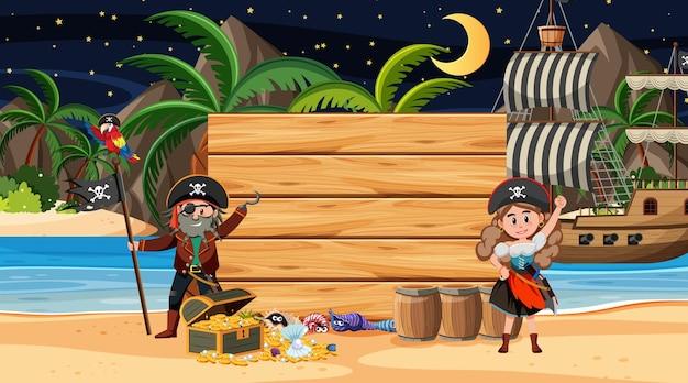 Пиратские дети на пляжной ночной сцене с пустым деревянным шаблоном баннера