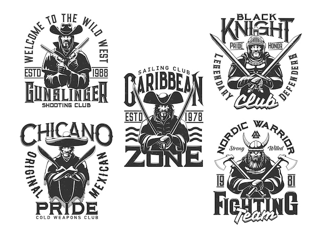 Pirate, knight warrior and wild west t shirt prints