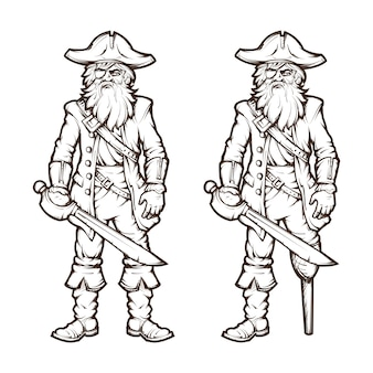 Pirate in line style