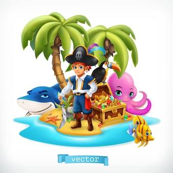 해적. 작은 소년과 재미있는 동물. 열대 섬과 보물 상자