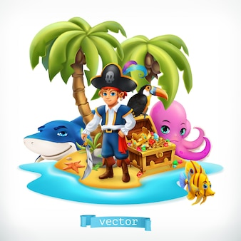Pirate. little boy and funny animals. tropical island and treasure chest