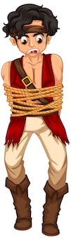 A pirate man got rope around his body cartoon character isolated