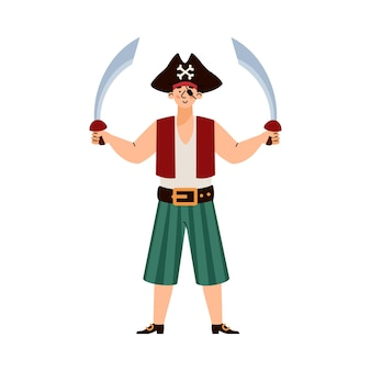 Pirate man standing holding two swords cartoon vector illustration isolated