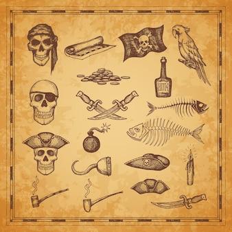 해적 지도 및 깃발, 두개골, 단검 및 물고기 뼈, 벡터 스케치 요소. 해적 보물섬 지도 아이콘, 무기, 럼주 병 및 앵무새, 담배 파이프, 양초 및 선장 갈고리, 바다 모험