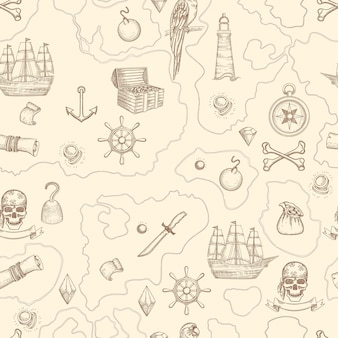 Pirate map seamless. nautical vintage detailed adventure map