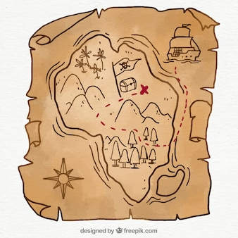 Pirate map with treasure in hand-drawn style