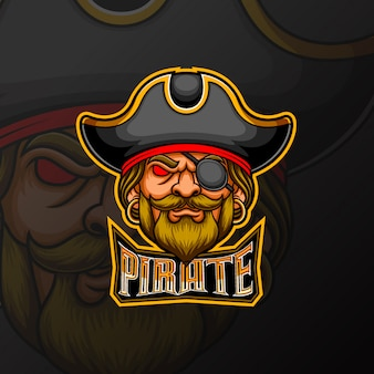 Pirate mascot e sport logo design