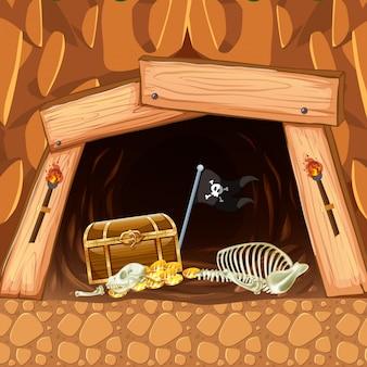 Pirate mining cave treasure and skeleton