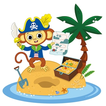 Pirate monkey found the treasure chest with his map on an island white background