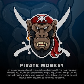 Pirate monkey logo illustration