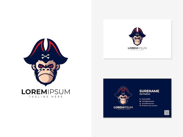 Pirate monkey mascot logo and visit card