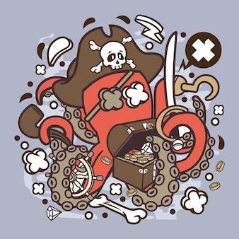 Pirate octopus cartoon