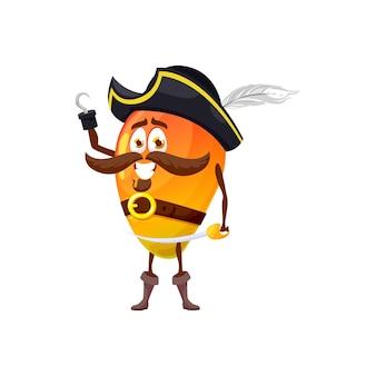 해적 파파야 이국적인 과일은 해적 모자, 손에 후크와 세이버, 만화 캐릭터 마스코트에 음식 디저트를 분리했습니다. 벡터 열대 포포, 칼을 든 해적 해적 선장, 웃는 이모티콘