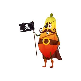 해적 파파야 포포는 벨트, 망토, 졸리 로저 깃발에 있는 만화 캐릭터 해적 이모티콘, 눈에 패치를 붙였습니다. 벡터 채식 디저트, 부츠에 음식 해적 다이어트. 귀여운 아이 어린이 이모티콘