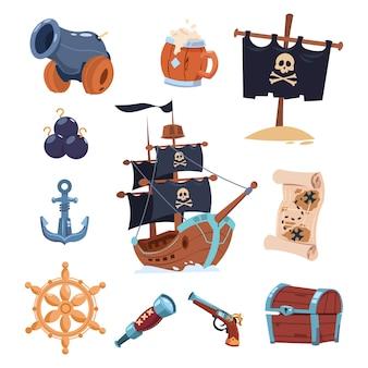 흰색 배경에 해적 도구