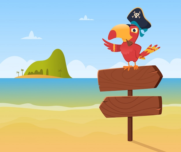 Pirate parrot. funny colored bird arara sitting on wood sign direction  background  in cartoon style