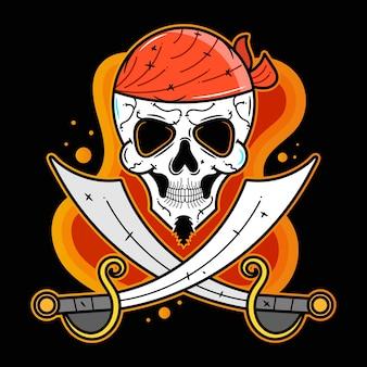 Пиратская вечеринка. 3d вектор эмблема векторные иллюстрации, подходит для печати поздравительных открыток, плакатов или футболок.