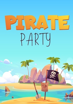 Pirate party flyer for kids adventure game or costume party.