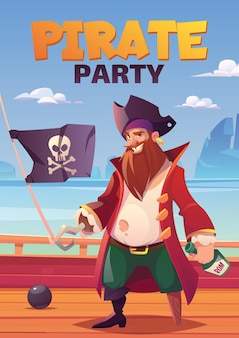 Pirate party poster with bearded smiling captain with hook hand and wooden leg, holding rum bottle stand on wooden ship deck