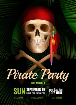 Pirate party realistic poster with smiling skull in red bandana and date of fun event