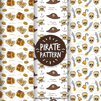 Pirate pattern on white background