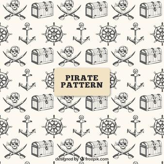 Пиратский узор с рисованными предметами