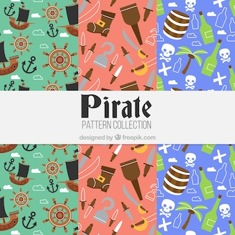 Pirate patterns with elements in flat design