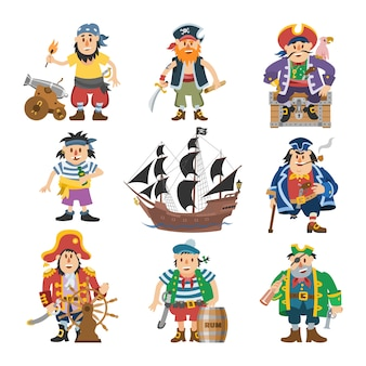 Pirate  piratic character buccaneer man in pirating costume in hat with sword illustration set of piracy sailor person and ship or sailboat  on white background