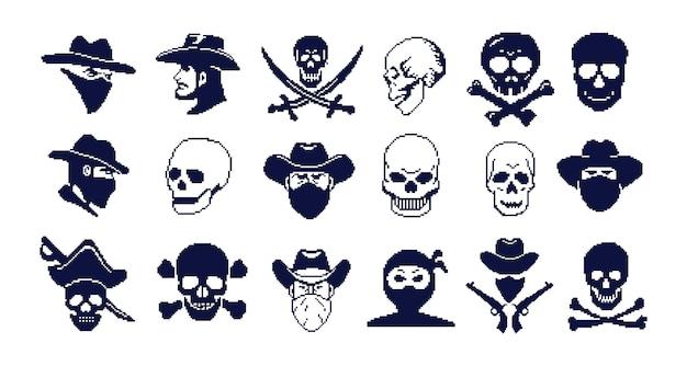 Pirate  pixel art jolly roger skull sea robber